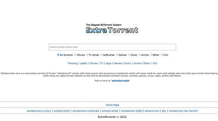 Unblock123 ExtraTorrents Search Using the Updated ExtraTorrents Proxy Sites